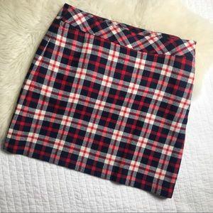 Talbots skirt plaid a-line wool blend